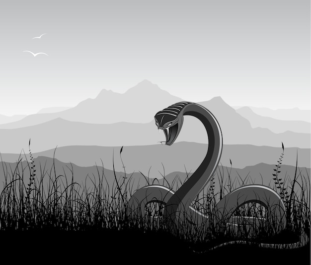 Landscape with angry snake, grass and mountains. Premium Vector