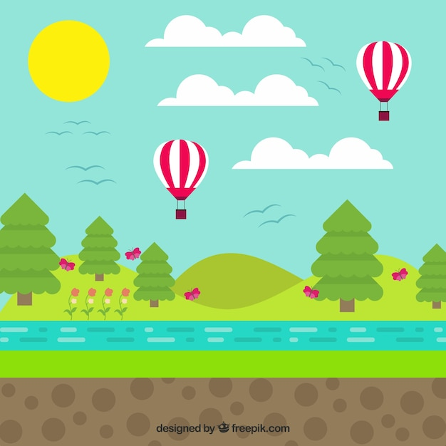 Landscape Illustration Vector Free: Landscape With Balloons In Flat Design Vector