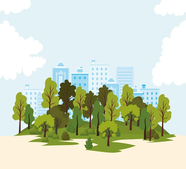 Landscape with building, trees and roads  illustration Premium Vector