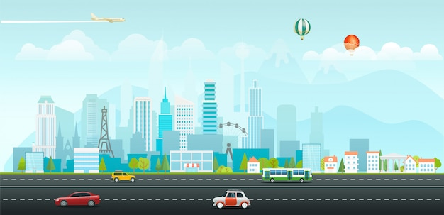 Landscape with buildings and vehicles. morning city life Premium Vector
