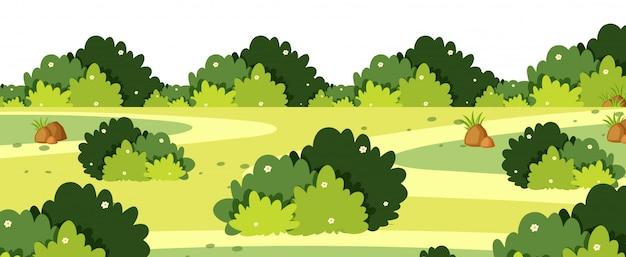 Пейзаж с кустами на траве Premium векторы
