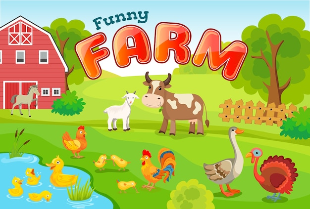 Landscape with farm animals. Free Vector