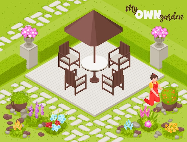 Landscape  with fence flowers and plants isometric Free Vector