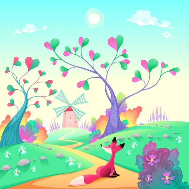 Landscape with hearts Free Vector
