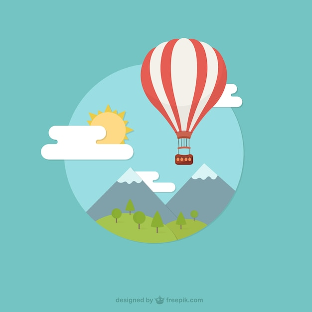Landscape with hot air balloon vector free download landscape with hot air balloon free vector voltagebd Image collections
