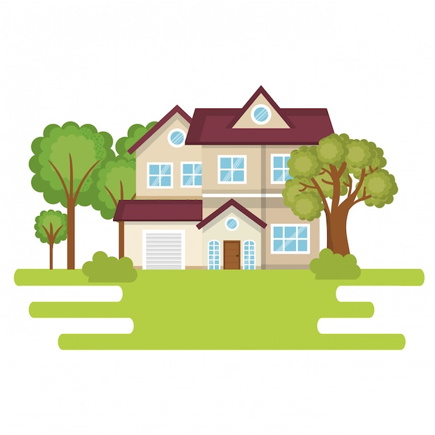 Landscape with house scene Free Vector