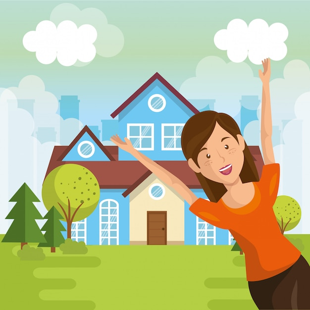 Landscape with house and woman scene Free Vector
