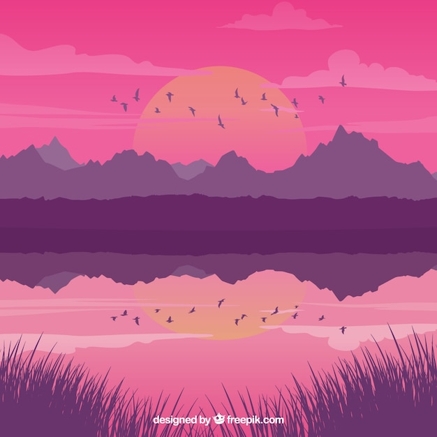 Landscape with lake at sunset and birds