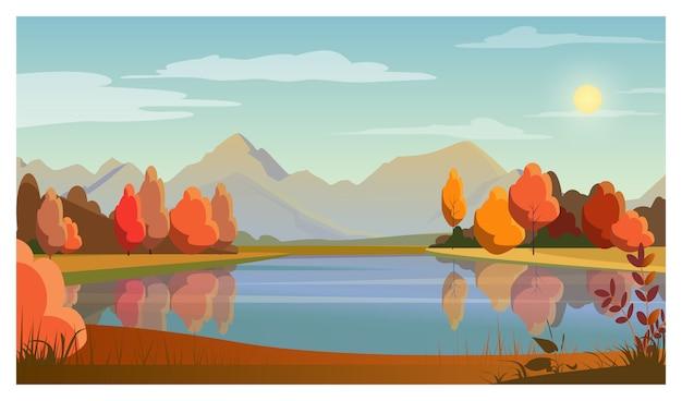 Пейзаж с озером, деревьями, солнцем и горами в фоновом режиме Бесплатные векторы