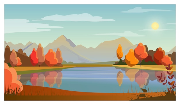 Landscape with lake, trees, sun and mountains in background Free Vector