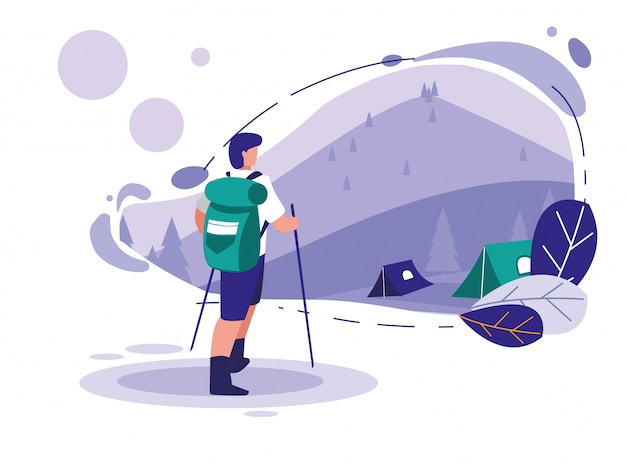 Landscape with mountains and man skiing Premium Vector