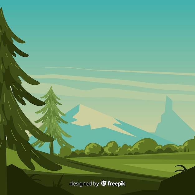 Landscape with mountains and trees Free Vector