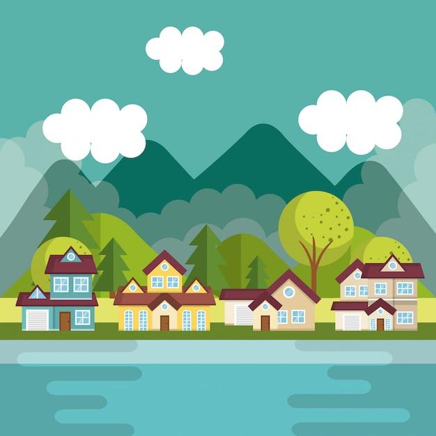 Landscape with neighborhood and lake scene Free Vector