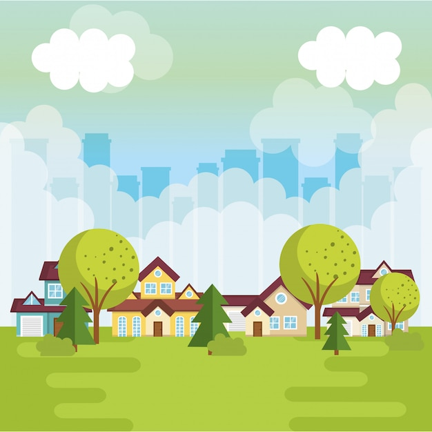 Landscape with neighborhood scene Free Vector