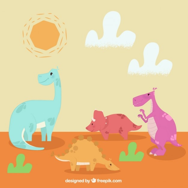 Landscape with nice dinosaurs