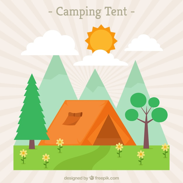 Landscape with orange camping tent