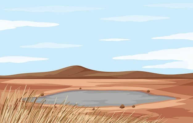 Landscape with pond and dry land Free Vector