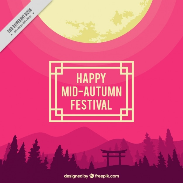 Landscape with purple background to celebrate\ mid-autumn festival