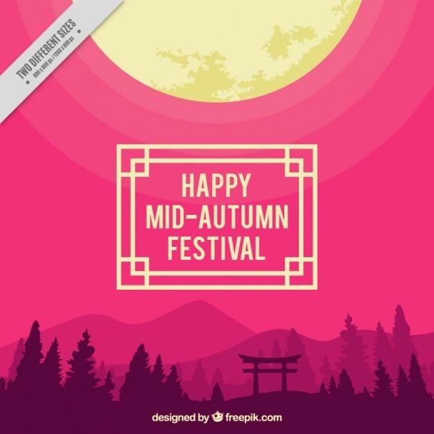 Landscape with purple background to celebrate\ mid-autumn festival