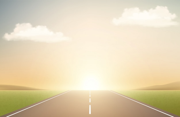 Landscape with road and sunset. runway, clouds and sunrise Premium Vector