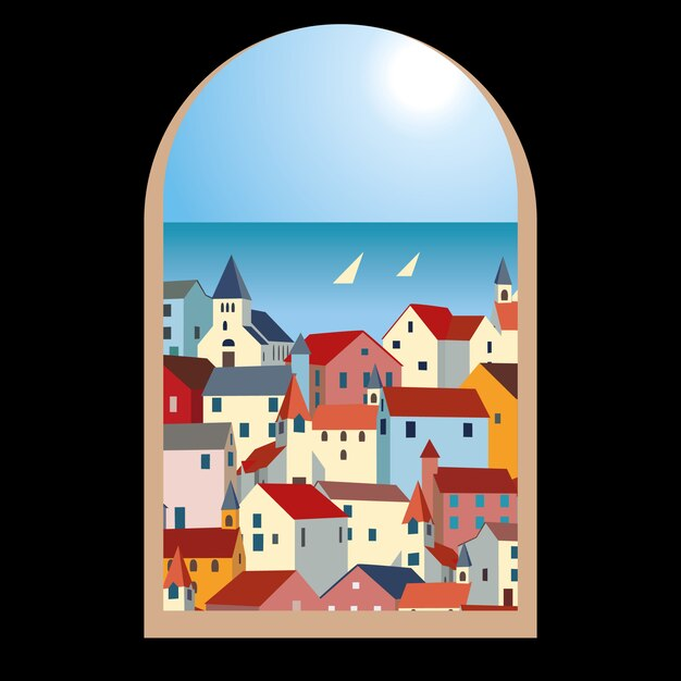 Landscape with sea, colorful houses and yachts through an old window Premium Vector