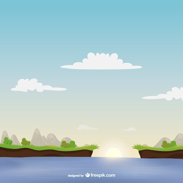 Landscape with sea vector