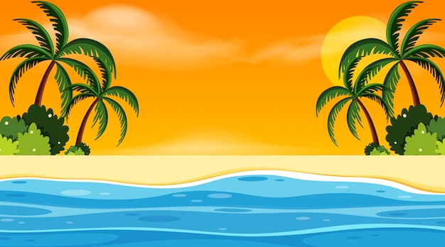 Landscape with seaside at sunset Premium Vector