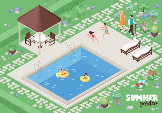 Landscape  with summer garden symbols isometric Free Vector
