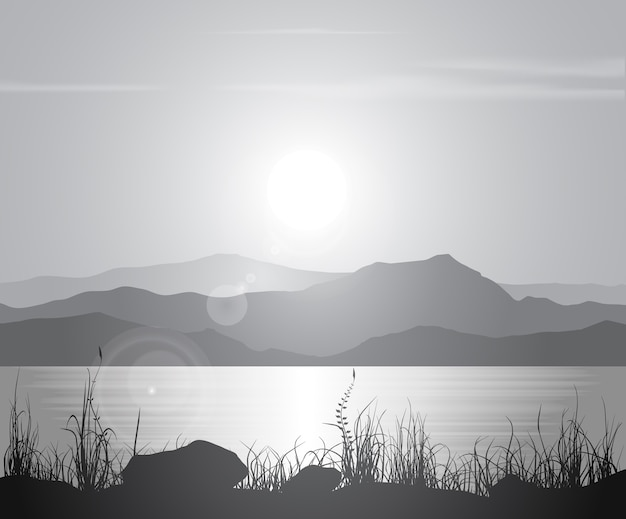Landscape with sunset at the seashore over mountain range. Premium Vector