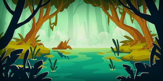 熱帯雨林の沼のある風景します。 無料ベクター