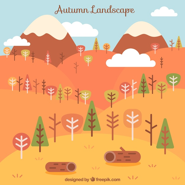 Landscape with trees and logs in warm\ colors