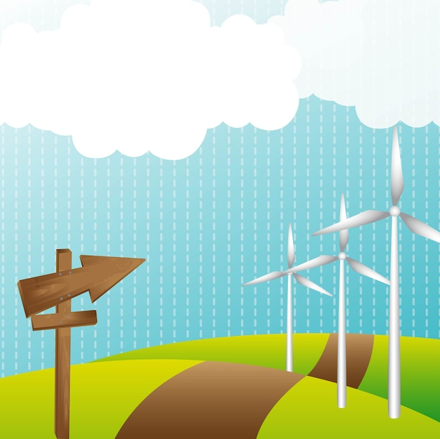 Landscape with wind energy generator and wooden sign Vector