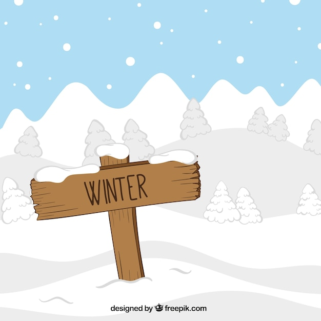 Landscape with winter sign Free Vector