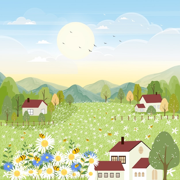 Landscapes of cute cartoon farm field in autumn with bee collecting pollen on flowers. Premium Vector