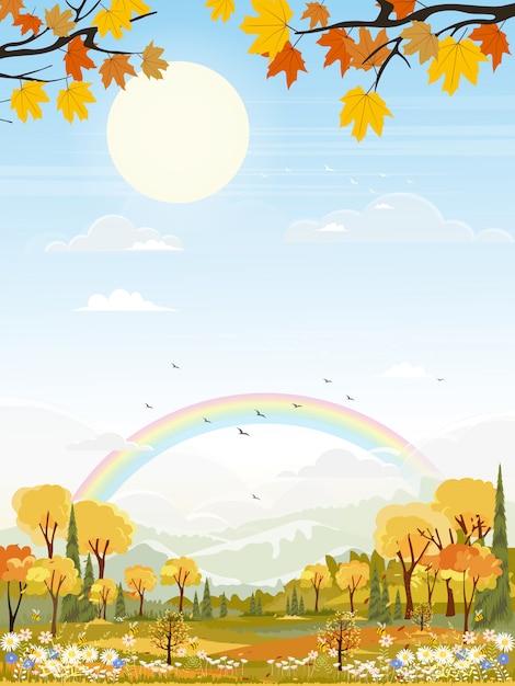 Landscapes of cute cartoon village in mid autumn Premium Vector