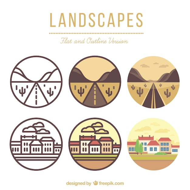 Landscapes in flat and outline version