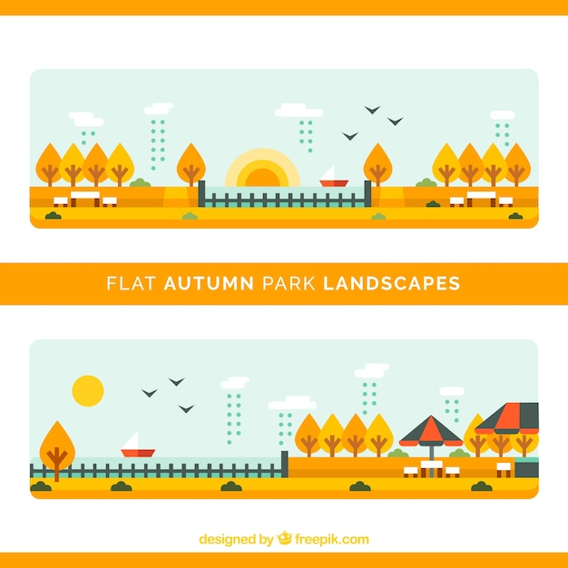 Landscapes of autumnal parks in flat\ style