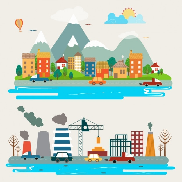 Landscapes of different cities Premium Vector