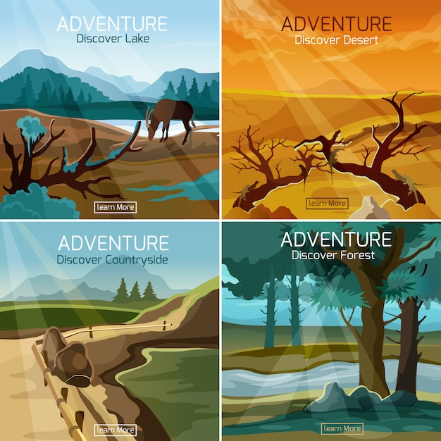 Landscapes travel 4 flat icons square Free Vector