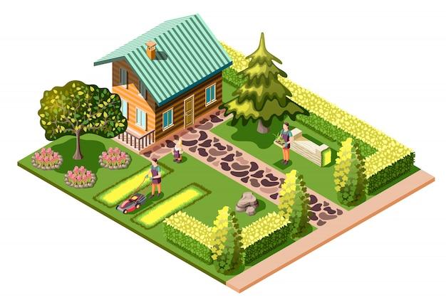 Ландшафтный дизайн изометрии с жилым домом и уходом за садом, стрижка газона, уход за растениями Бесплатные векторы
