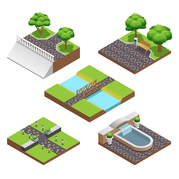 Landscaping isometric compositions with summer trees Free Vector