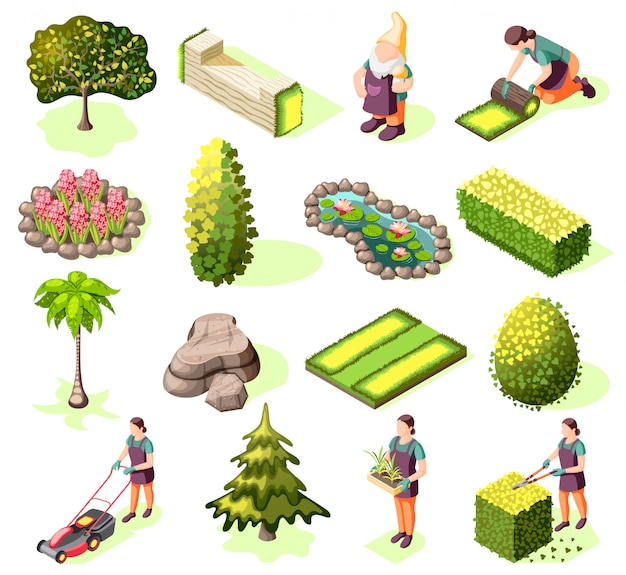 Landscaping set of isometric icons with elements green lawn trees and bushes isolated Free Vector