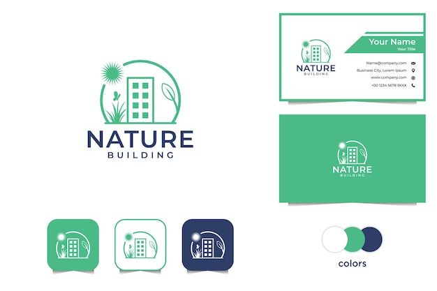 Landscaping with building and nature logo business card Premium Vector