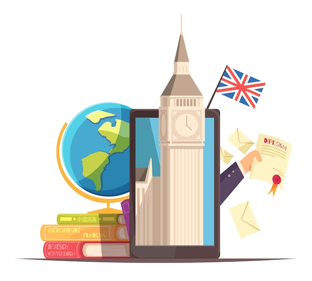 Language center online communication courses flat advertising composition with flag diploma tablet big ben dictionaries Free Vector