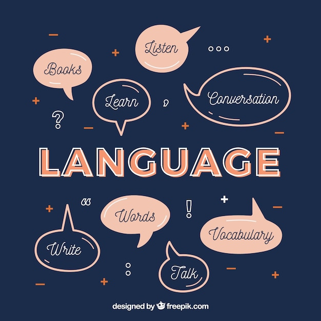 Language composition with flat design Free Vector