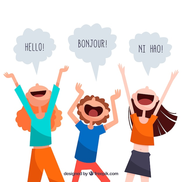 Language concept with speech bubbles Free Vector