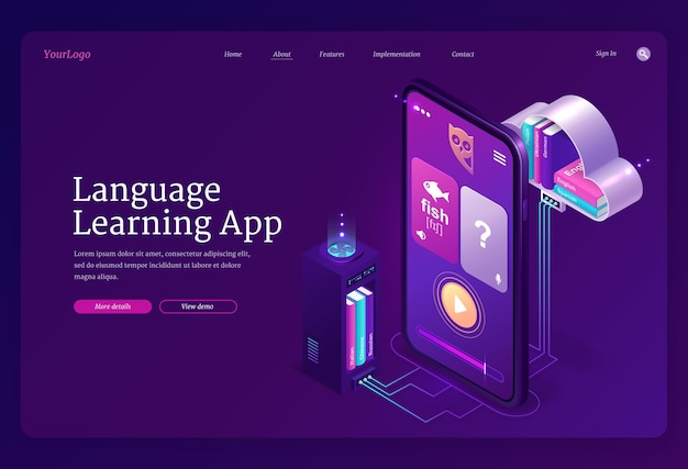 Language learning app web template. mobile online education service, digital training foreign languages Free Vector