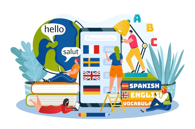 Language learning, education and training courses online illustration. foreign languages by internet, phone app, icons for english, german, french. university and school course, dictionary. Premium Vector