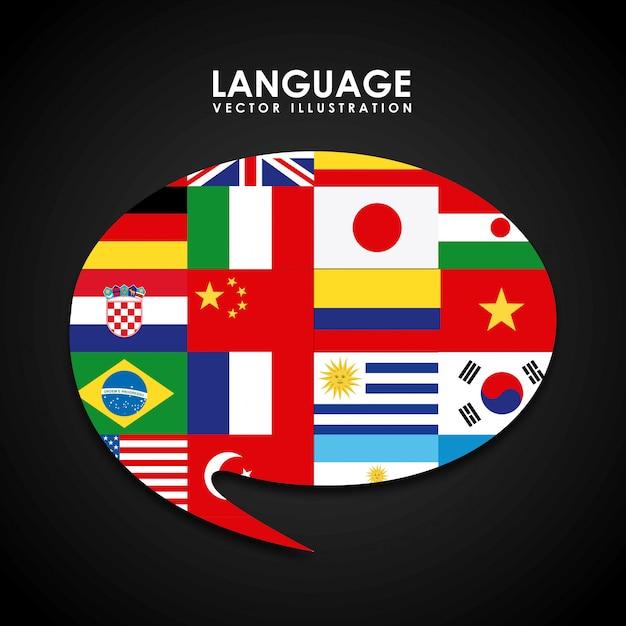 Language poster design Premium Vector