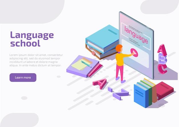Pagina di destinazione isometrica della scuola di lingue. Vettore gratuito